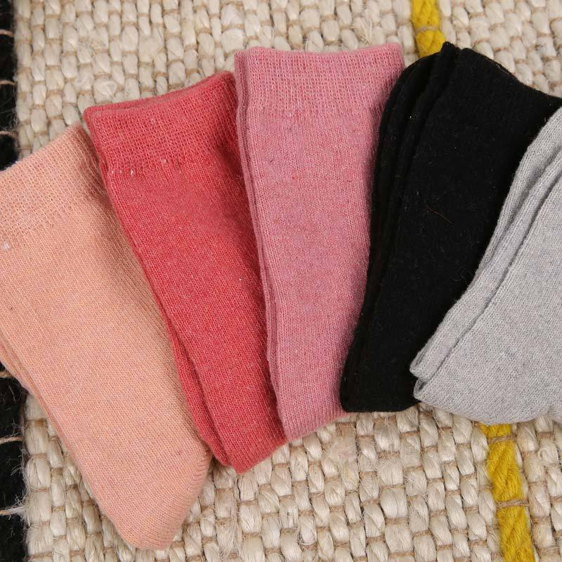 PEONFLY Warm sweet winter thick socks ladies thermal cute female Cotton socks for women high quality 5PAIRLOT