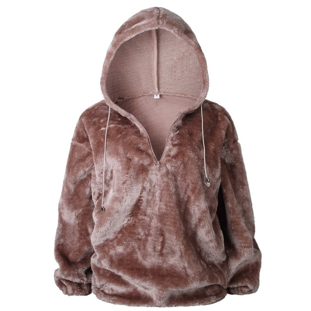a993092739 Autumn Winter Warm Hoodie Faux Fur Fluffy Flannel Women Sweatshirts  Oversize Casual Hooded Hoodies Female Pullover