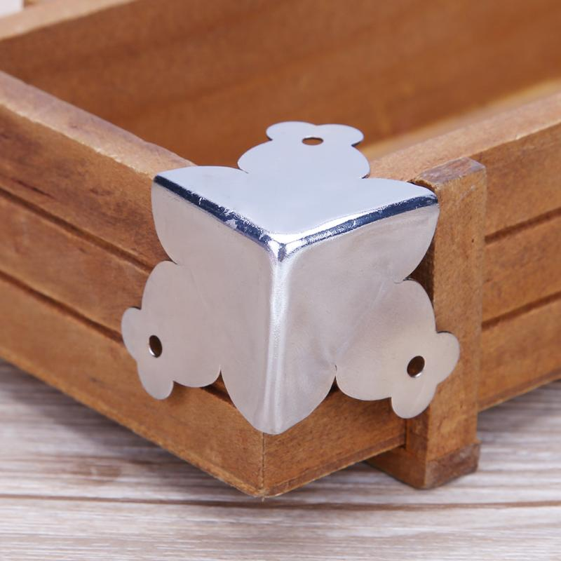 12pcs Jewelry Box Corner Retro Metal Stainless steel Decorative Wooden Box Protector Case with 36 Screws Metal Crafts