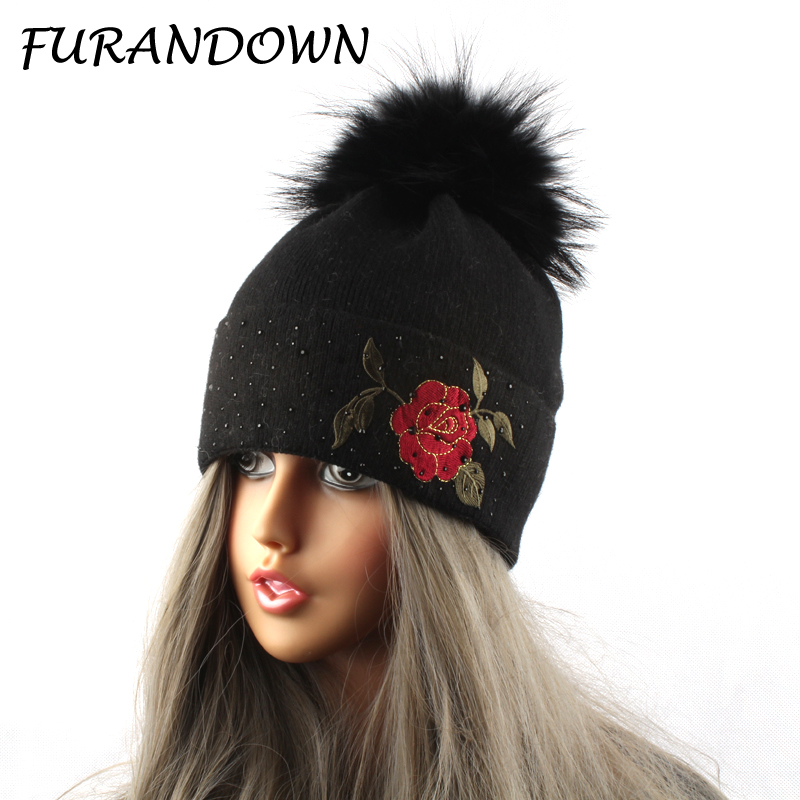 Embroidery Flower Beanies Skullies Winter Fur Pompom Beanie Hats For Women Ladies Diamond Cap skullies