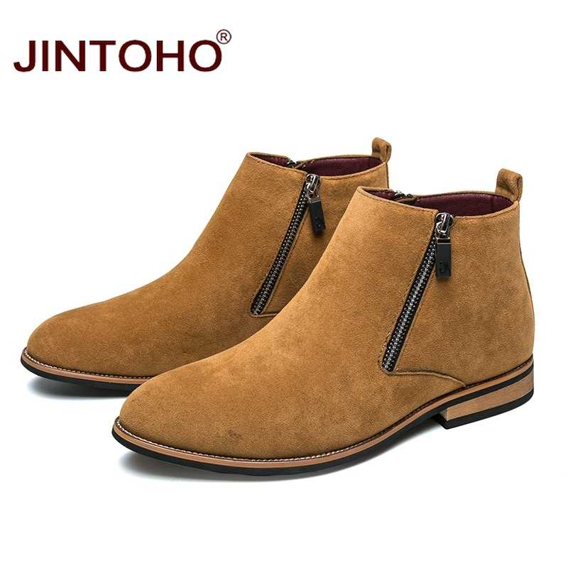 JINTOHO 2018 ใหม่ผู้ชาย Suede รองเท้าหนังฤดูหนาวรองเท้าบุรุษชี้ Toe รองเท้าแฟชั่นผู้ชายรองเท้าบูทชายฤดูหนาว Botas hombre