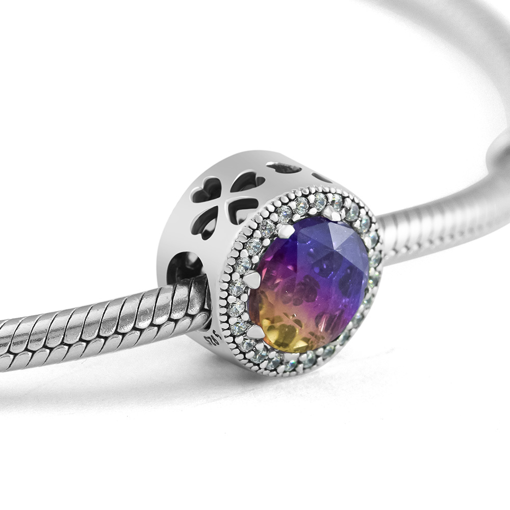 Fits for Pandora Charms Bracelets Radiant Hearts Beads with Coloured CZ 100% 925 Sterling Silver Jewelry Free Shipping