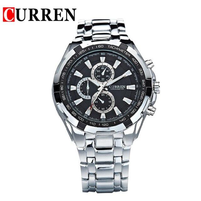 ac457c02cbc Curren 8023 Marca de moda Relógios de Quartzo homens completa aço Relógio  Masculino relógio De Pulso