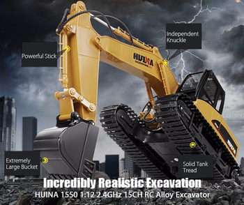 Christmas HuiNa 1550 RC Crawler Car 15CH 2.4G 1:14 RC Metal Excavator Charging 1:12 RC Car With Battery RC Alloy Excavator RTR