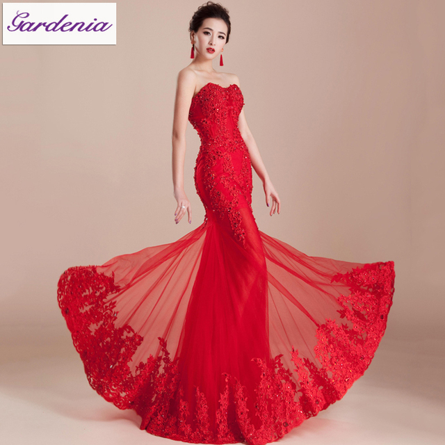 4245e442b81a Elegant Evening Gown Bandage Back Sweetheart Neck Party Dress Applique  Beaded Mermaid Red Tulle Long Fish Tail Evening Dress