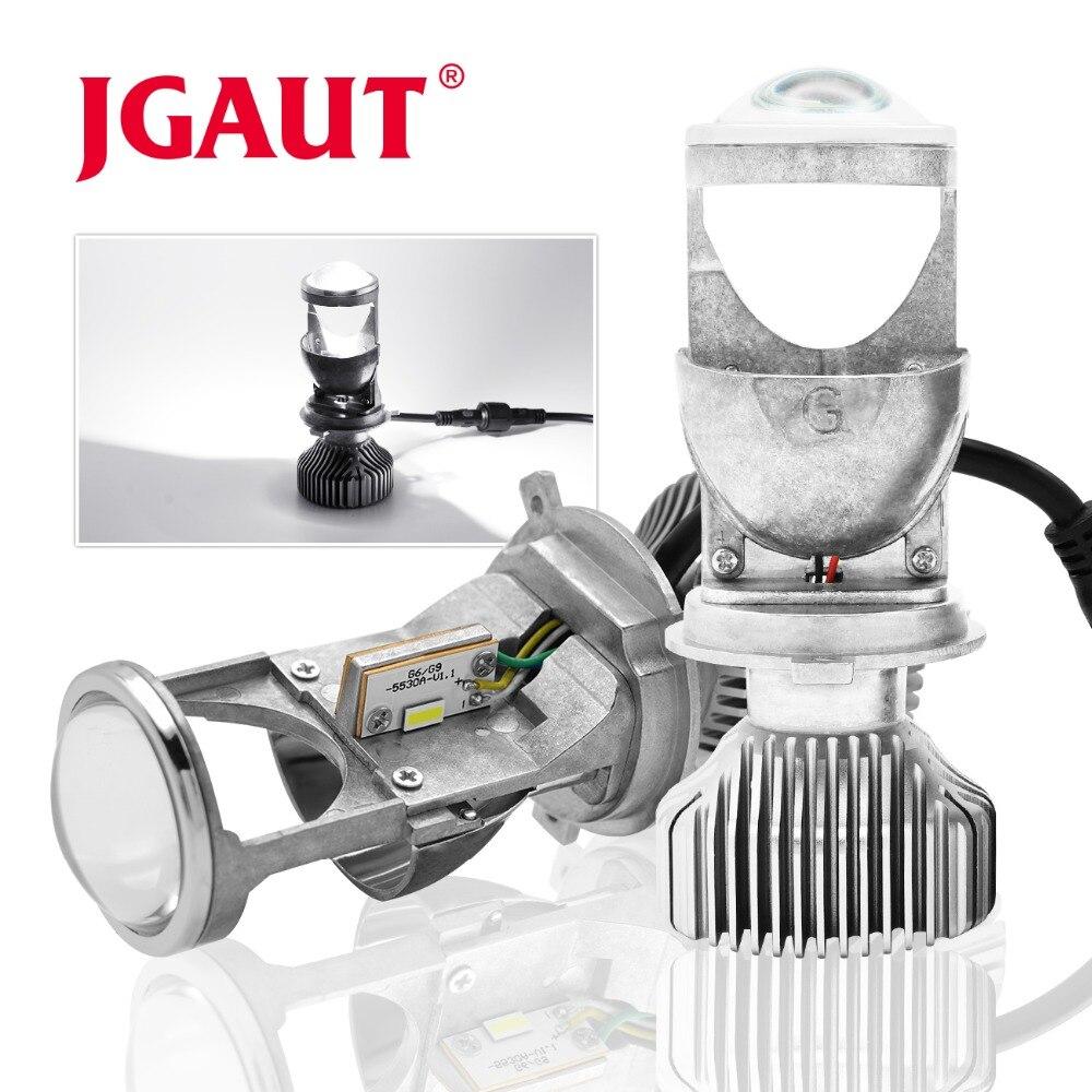 JGAUT voiture lumières lampe H4 mini projecteur LED lentille automobile LED ampoule LED Kit de Conversion Hi/Lo faisceau phare 12 V/24 V 5500 K blanc