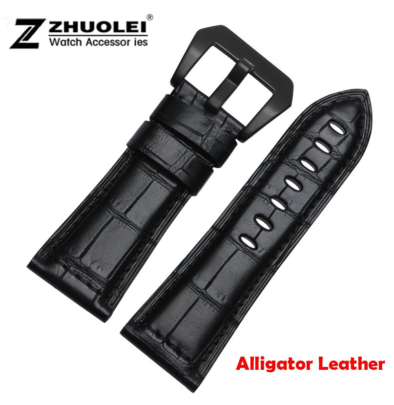 цена на Watch band 24mm 26mm New Mens Black Real Alligator Genuine Leather Watch band Straps Bracelets Watch Accessories Watch Buckle