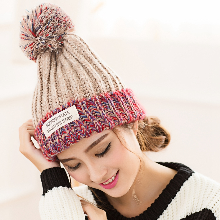 New Beautiful Colorful Ball Warm Winter Beanies Women Caps Casual Sweet Knitted Hats For Women Outdoor Travel Free Shipping beautiful darkness