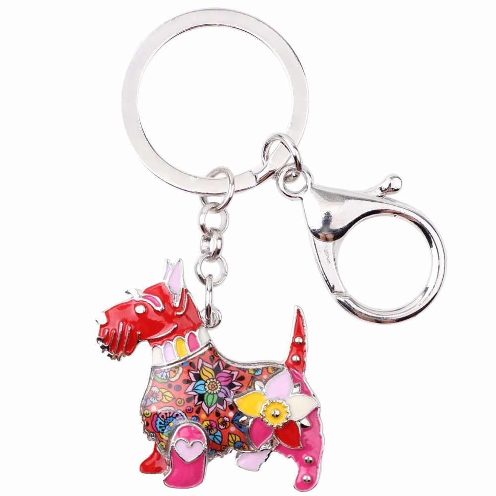 Bonsny Men Kim Loại Scottish Terrier Dog Key Chain Key Ring Đồ Trang Sức Cho Phụ Nữ Cô Gái Bag Pendant Charm Phụ Kiện Xe Keychain
