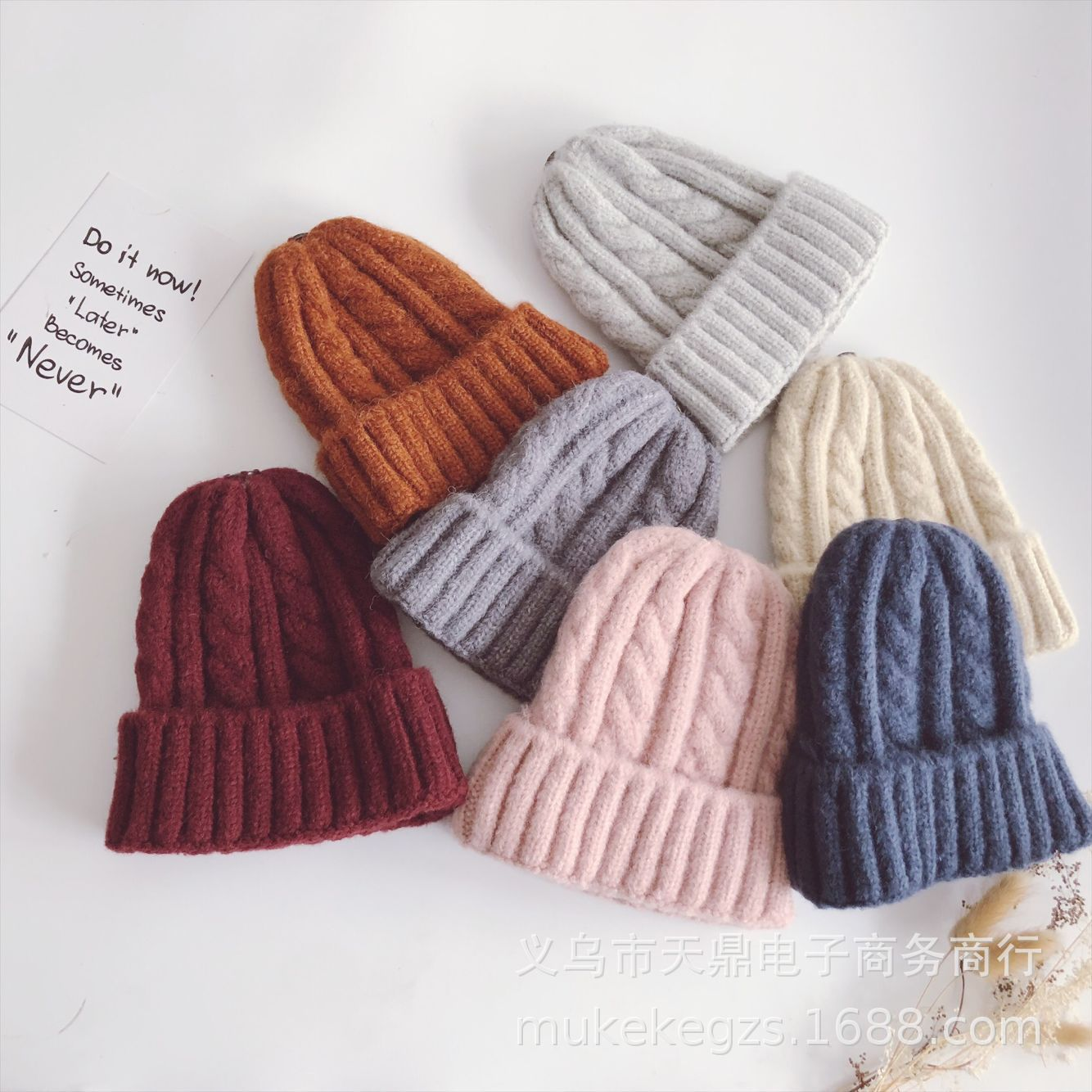 Fashion Thick Twist Thread Knitted Hat Children Female Artificial Winter Hats Caps Girl Women Thread Knit   Beanies