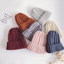 Fashion Thick Twist Thread Knitted Hat Children Female Artificial Winter Hats Caps Girl Women Thread Knit Beanies women new design caps twist pattern women winter hat knitted sweater fashion hats 6 colors y1