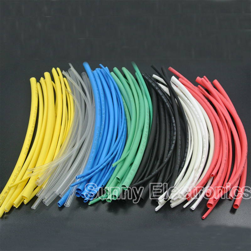 New Kit  6 Sizes  84pcs 7 Colours Assortment 2:1 Heat Shrink Tubing Tube Sleeving Wrap Wire 1.5 to 6mm Heat Shrink