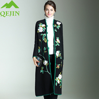 Women S Mink Cashmere Jackets Wool Trench Coat Long Loose Warm Thick Wool Coats Embroidery Flora