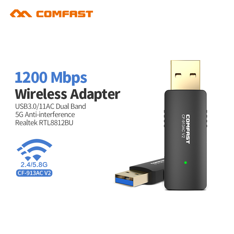 Comfast 1200Mbps Dual Band Wireless USB3.0 Wifi Dongle Adapter 802.11a/g/n/ac Antenna AC1200 Wirless Network Lan Card CF-913ACV2