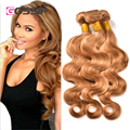Honey Blonde Hair Brasileño 4 Bundles Brasileño Onda Del Cuerpo de Color Marrón Claro #27 Honey Blonde Virgen Del Pelo Humano Bundles Cabello extensiones