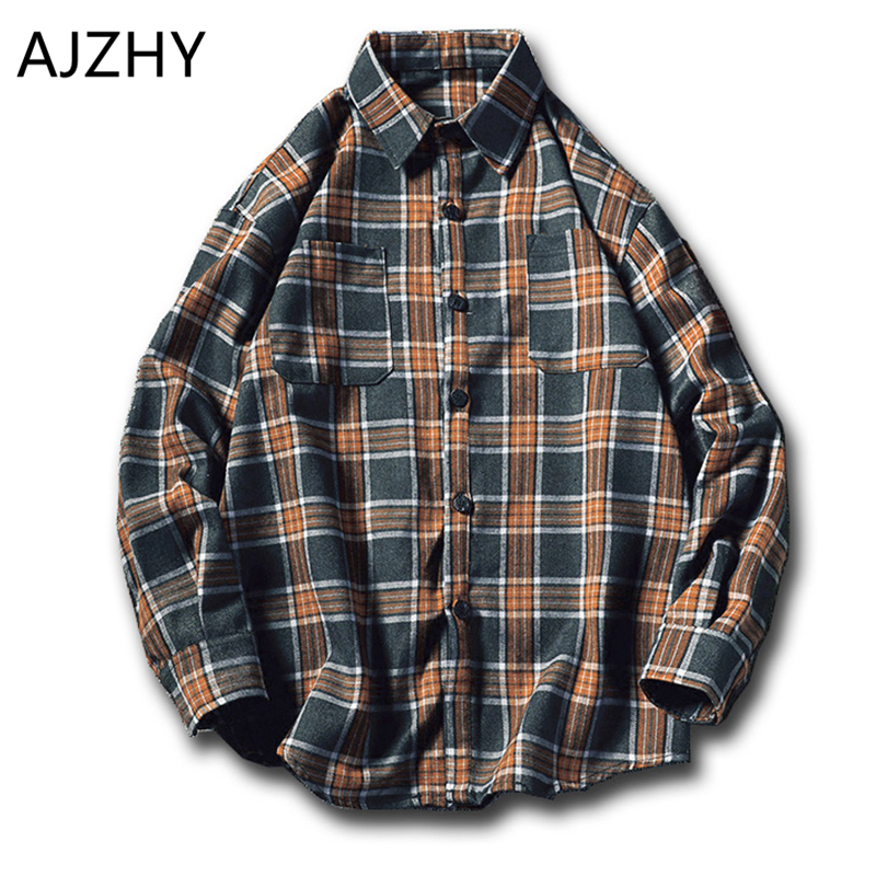 Fashion Men Shirt Long Sleeve Spring Autumn Plaid Shirt Mens Women Vintage Oversize Japanese Streetwear Flannel Casual Camisas