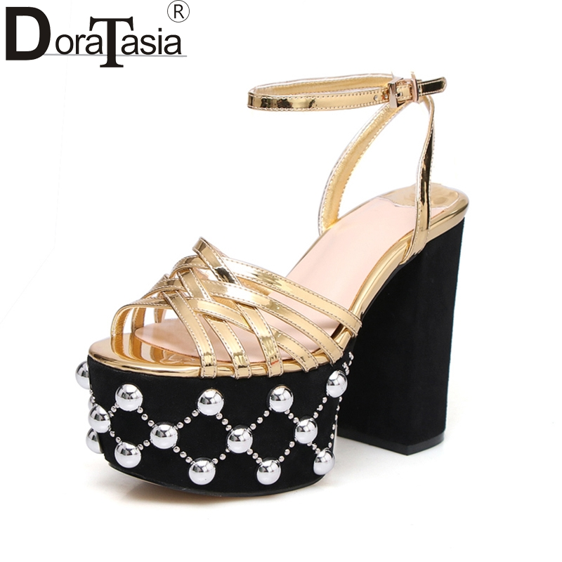 DoraTasia large size 34-41 square high heels peals women shoes sexy platform brand design party wedding sandals woman shoes
