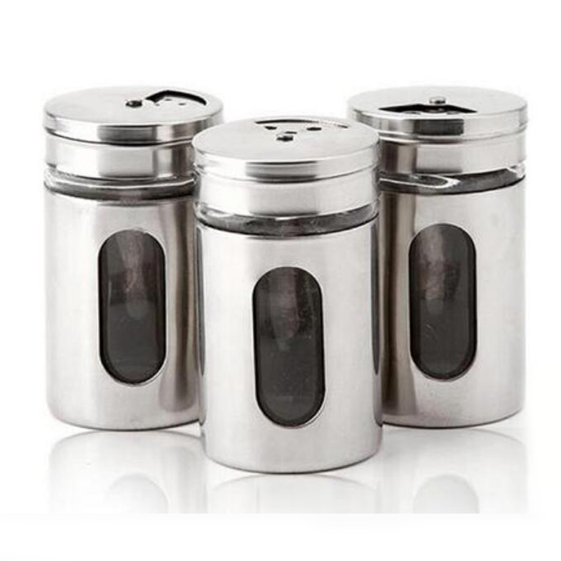 Us 5 77 26 Off Hot Style 4 Different Needs Rotating Holes Spice Jars Condiment Pot Salt Pepper Kitchen Storage Stainless Steel Glass Container In