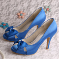 Wedopus Custom Handmade Hot Selling Satin Royal Blue Shoes Women Pumps for Wedding Size 10