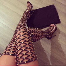 Punk Rivets Cut Outs Caged Summer Thigh High Boots Open Toe Women Boots Ladies Shoes Woman High Heels Sandals Boots Botas Mujer