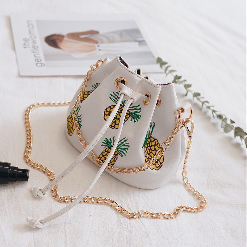 2017 Korean Version Of The Embroidery Pineapple Bucket Bag With a Female PackageFashion Chain Bag Shoulder Messenger Bag fundamentals of physics extended 9th edition international student version with wileyplus set