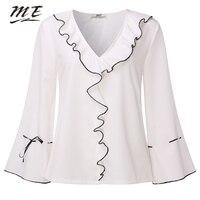 ME Women Blouse Elegant Flare Sleeve V Neck Ruffles Loose White Shirts Casual Autumn Female Oversized