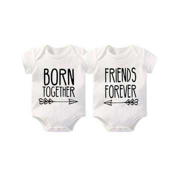 YSCULBUTOL Baby twins strój najlepszy przyjaciel urodzony razem przyjaciele na zawsze śliczne Twins body niemowlęce noworodki Twins prezent ubrania tanie i dobre opinie COTTON W wieku 0-6m 7-12m CN (pochodzenie) Unisex moda Zestawy