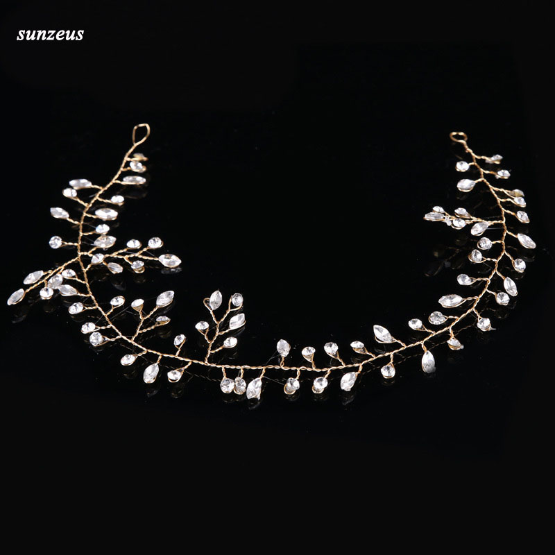 Hand-made Silver/Gold Bridal Hair Chain Crystal Wedding Headband Head Sash Accessories Free Shipping SQ0264