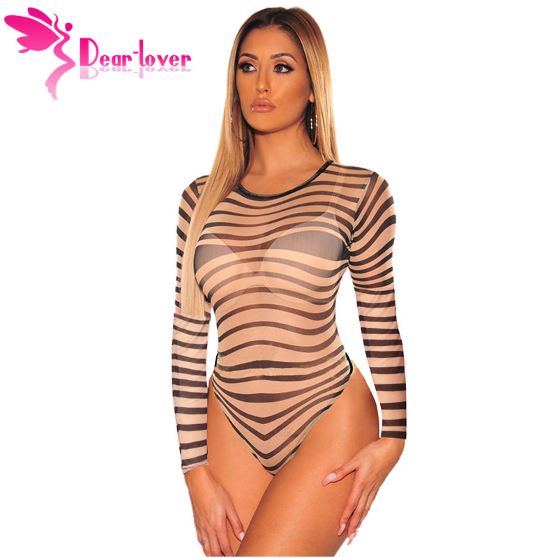 Dear-Lover 2019 Striped Mesh Sexy Bodysuit Women Long Sleeve Slim Rompers Womens   Jumpsuit   Nude Black Casual Playsuit LC32390