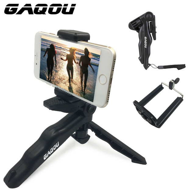 GAQOU Universal Mini Tripod 90″ Rotation Desktop & Handle Stabilizer For Mobile Phone Camera Go Pro With Cell Phone Holder Clip
