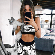 2017 Hot Sale Women's 3D Printed Sporting Leggings Tracksuit Two Piece Set Skinny Pants Workout Tank Top Set Suits for Women