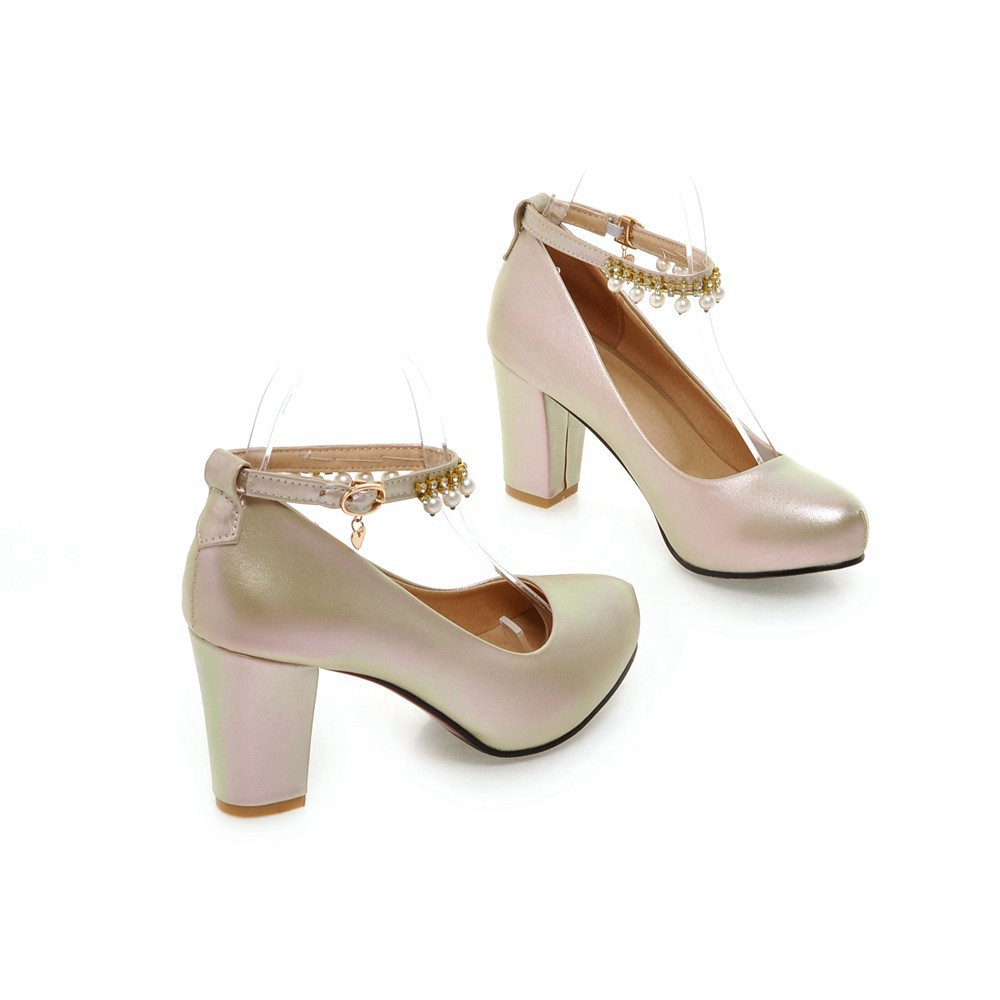 2017 Chunky High Heeled Pink Bridal Wedding Shoes Beaded White Female Buckle Elegant Pumps Silver Gold17