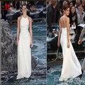 Emma Watson Barato Celebridade Estilo Branco Chiffon Praia vestido de Verão Backless Red Carpet Vestidos Formais Ocasião kylie jenner Vestidos 2016