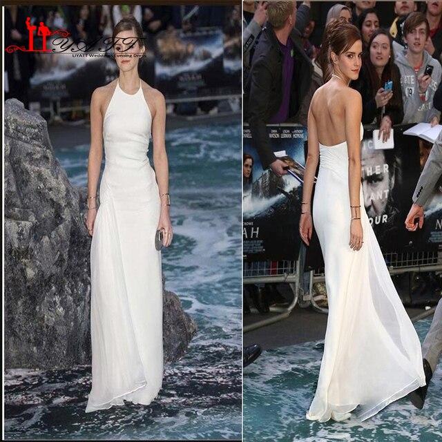 Emma Watson Celebrity Barato Verano Estilo Blanco Playa de La Gasa Backless de la Alfombra Roja Vestidos Formales Ocasión kylie jenner Vestidos 2016
