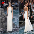 Emma Watson Cheap Celebrity Summer Style White Chiffon Beach Backless Red Carpet Dresses Formal Occasion kylie jenner Gowns 2016