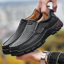 cow leather outdoor running shoes men breathable genuine brand jogging training sneakers
