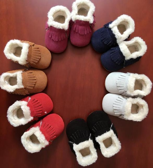 New style Winter with fur boots Genuine Leather Baby girls shoes handmade Toddler hard sole first walkers baby Suede Shoes