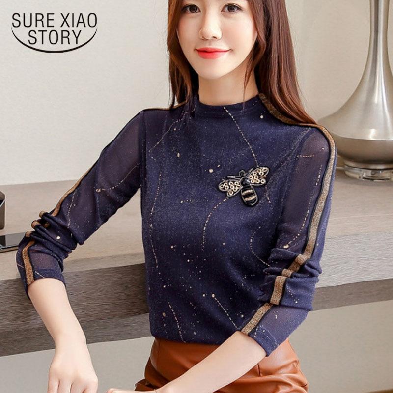 women autumn 2019 new long sleeve ladies shirt turtleneck cl