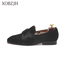 2019 Men New Dress Shoes Handmade Leisure Style Wedding Party Shoes Men Flats Leather Black Loafers Working Shoes Big Size