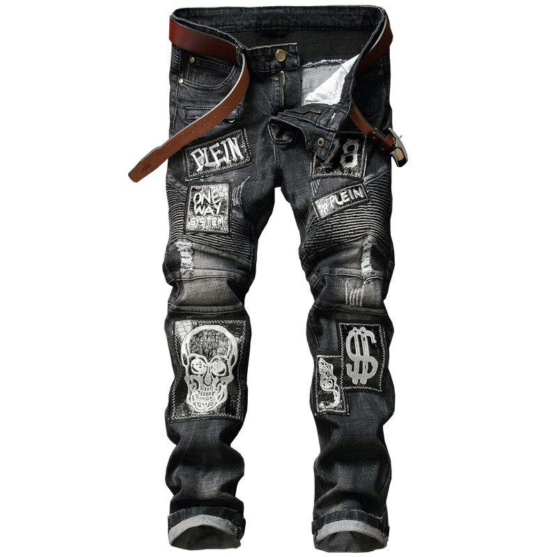 New Skull Biker Men Jeans Homme Slim Fit  Personality Badge Patchwork Denim Hip Hop Male Stone Washed Punk Cotton Jeans рубашка мужская holy shi bao 11010006 2014
