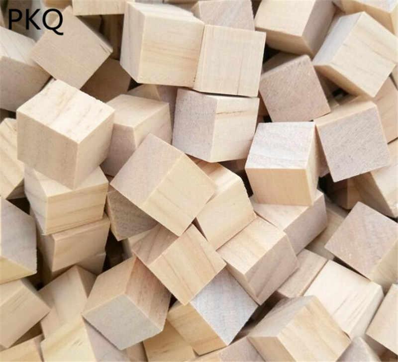 1 см/2 см/2,5 см натуральный Мини Деревянный Куб DIY резьба по дереву для художественных ремесел проектов