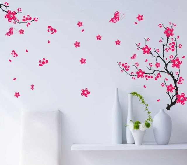Butterfly Flower Tree TV Bedroom Home Decor Wall Sticker Diy Bathroom  Mirror Vinyl Poster Home Decoration