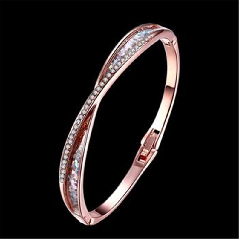 Браслет Дизайн для Для женщин Мода Сейф Пряжка Стиль изделия из розового золота Цвет ювелирные изделия Золотой Чешский drill16