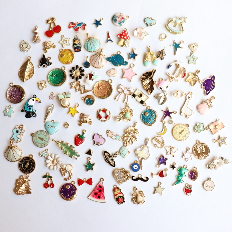 Feedback Customer ~ 30Pcs Mix Random Styles Glass Crystal Glazing KC Gold Alloy Pendants Jewelry Charms image
