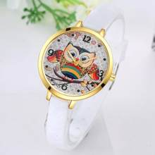 Girl Cute Watches Student Lovely Bracelet Watches Owl Pattern Quartz Wrist Watch Casual PU Leather Strap Watches Gifts(China)