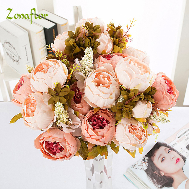 Zonaflor 13 Heads Silk Peony Flower Artificial Flowers Imitation European Peony Fake Wedding Bride Bouquet Home Party Decoration