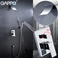 GAPPO Bathroom In Wall Shower Faucet Brass Set Brass Rainfall Shower Mixer Tap Chrome Waterfall Bath