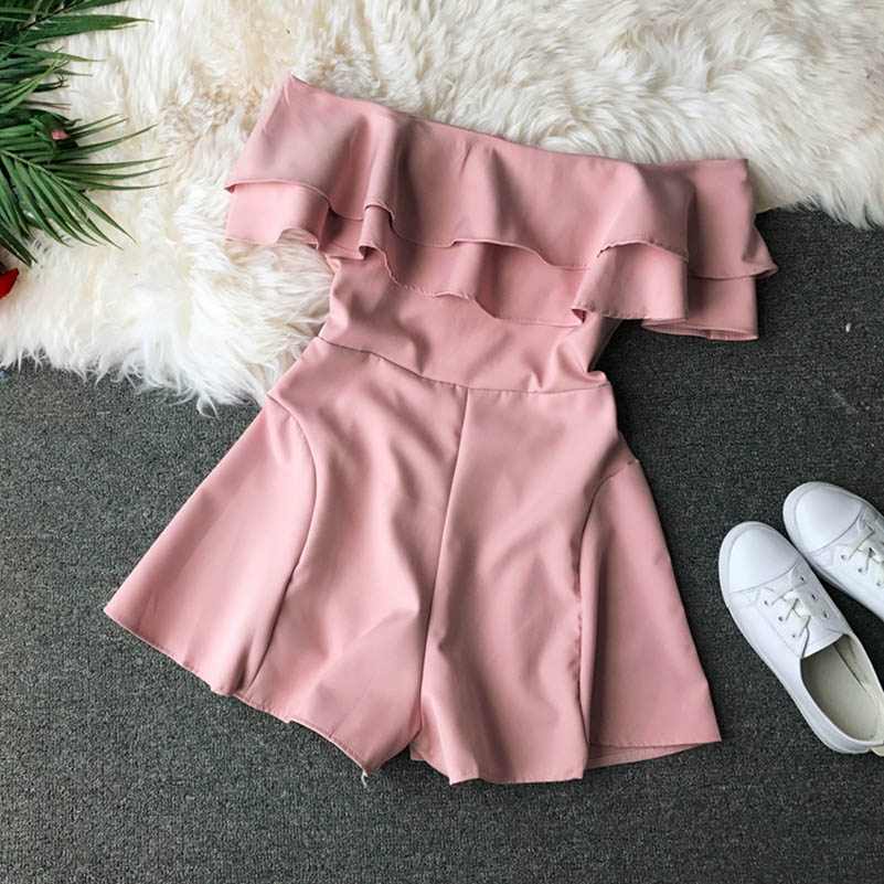 HTB19T9DcaSs3KVjSZPiq6AsiVXaw - Candy Color Elegant Jumpsuit Women Summer Latest Style Double Ruffles Slash Neck Rompers Womens Jumpsuit Short Playsuit