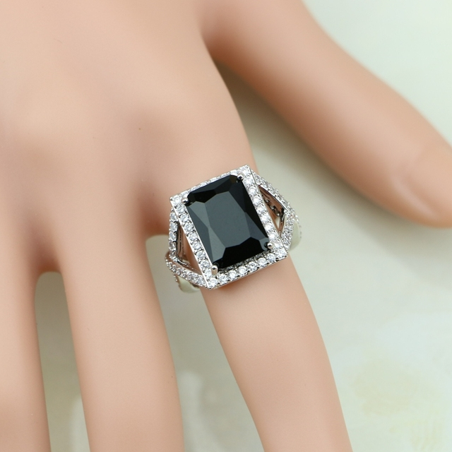49593275e3365 US $5.33 27% OFF|Square Captivating Black Cubic Zirconia White CZ 925  Sterling Silver Ring For Women Wedding Wedding/Engagement/Party/Gifts  Ring-in ...