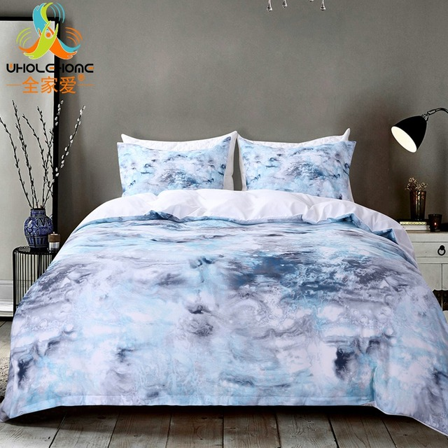Blue Marble Duvet Cover Set High Quality Printing Bed Linens 2 3pcs Queen King Bedding Sets With Pillowcases Home